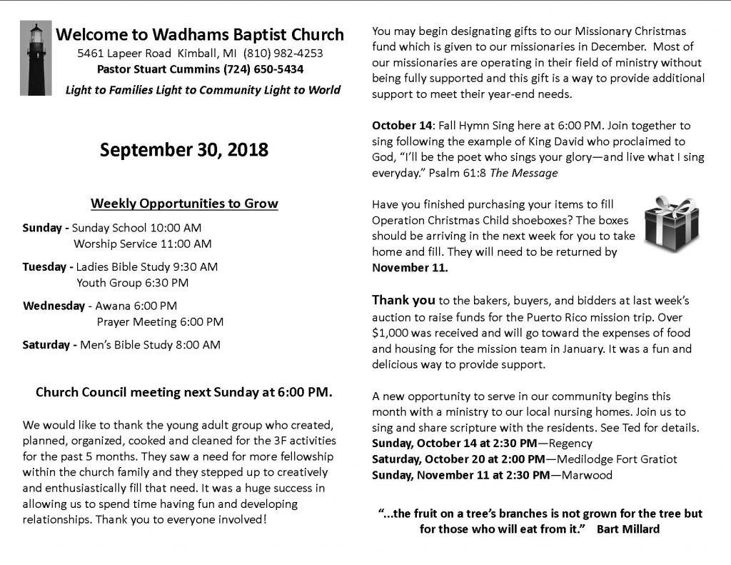 Bulletin September 30 - Wadhams Baptist Church