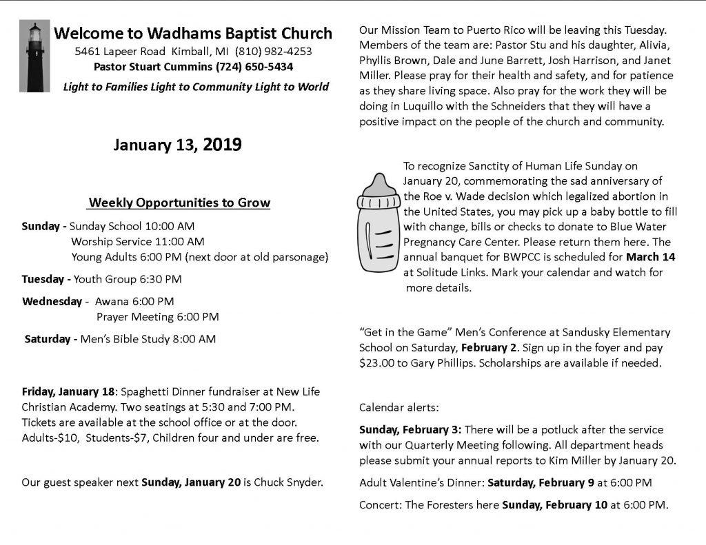 Bulletin January 13 - Wadhams Baptist Church