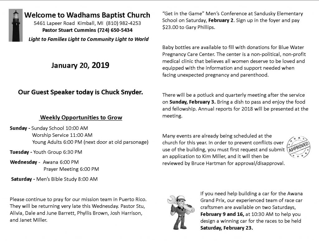 Bulletin January 20, 2019 - Wadhams Baptist Church