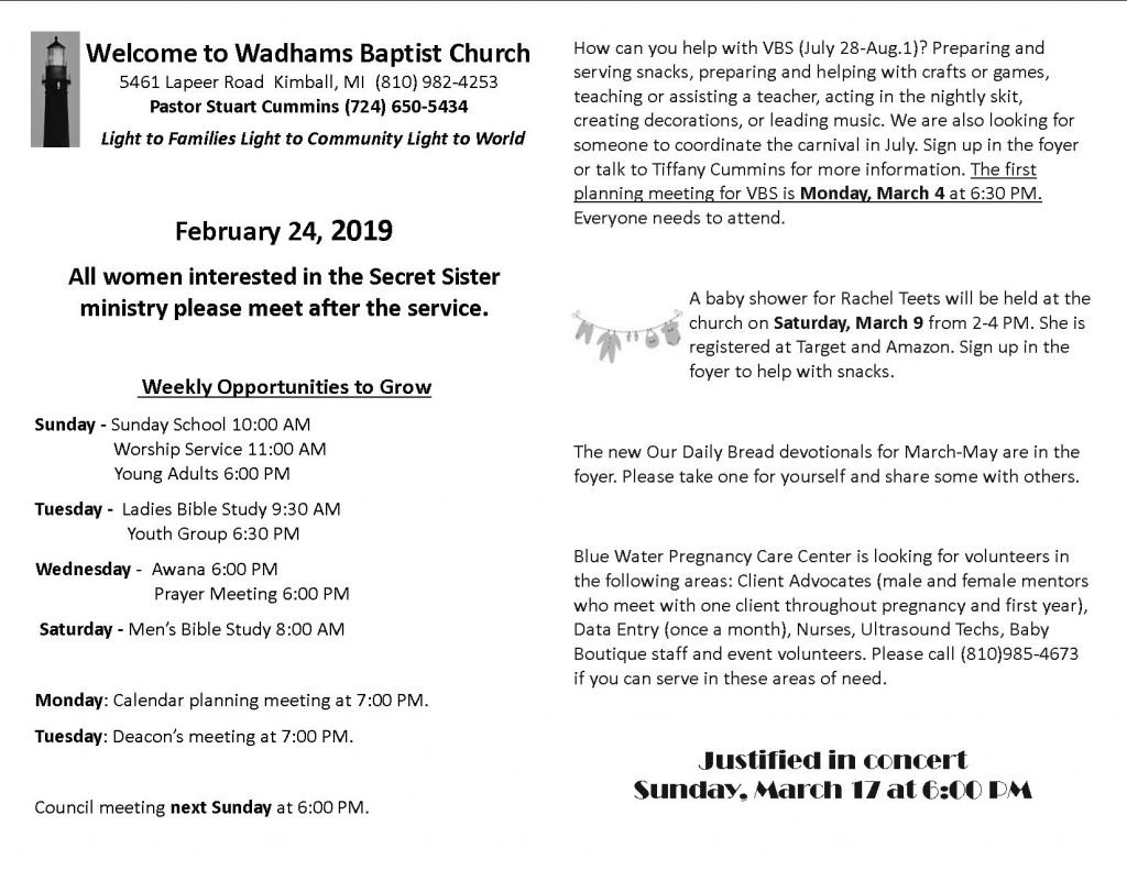 News Archives - Page 4 of 14 - Wadhams Baptist Church