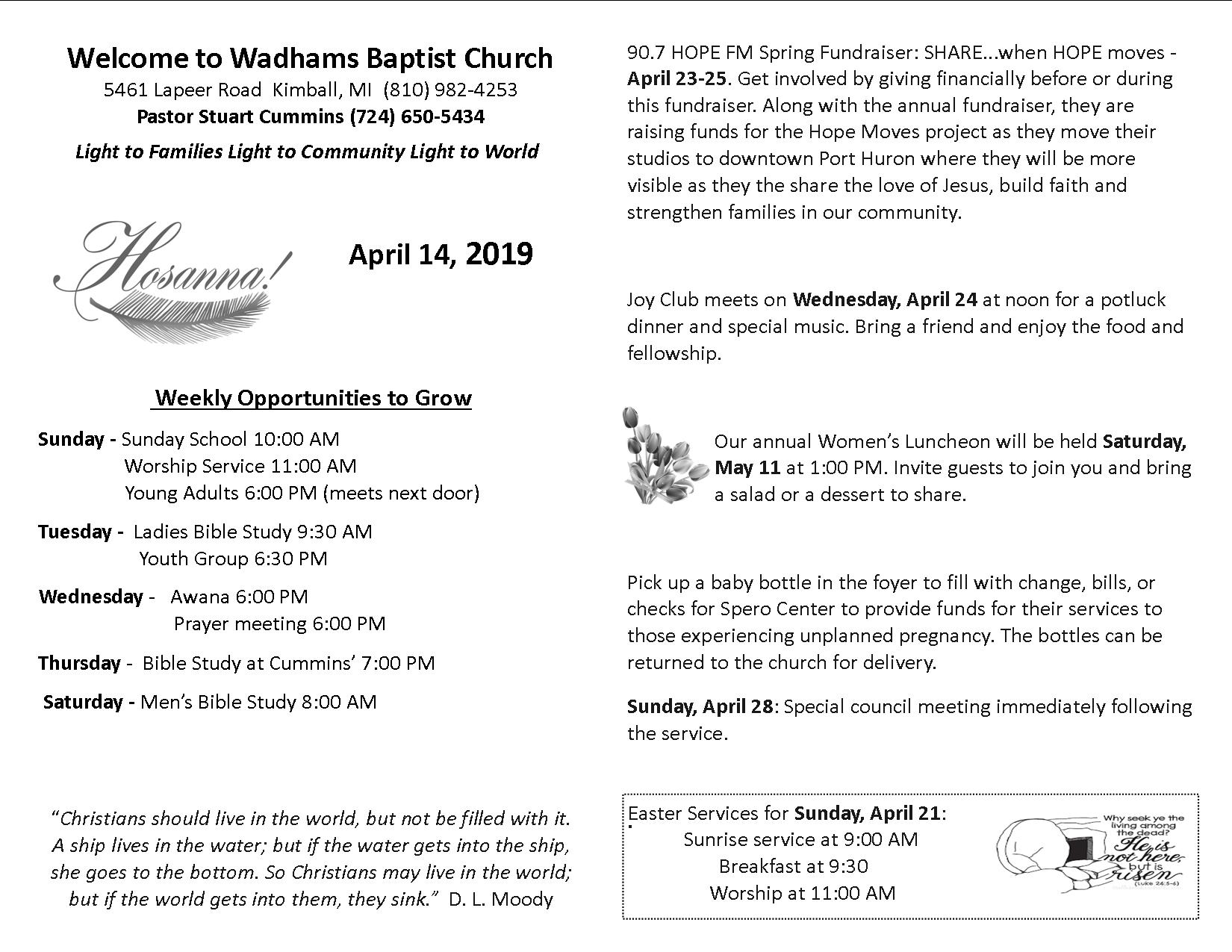 Bulletin April 14, 2019 - Wadhams Baptist Church