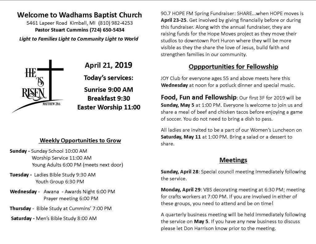 Bulletin April 21 - Wadhams Baptist Church