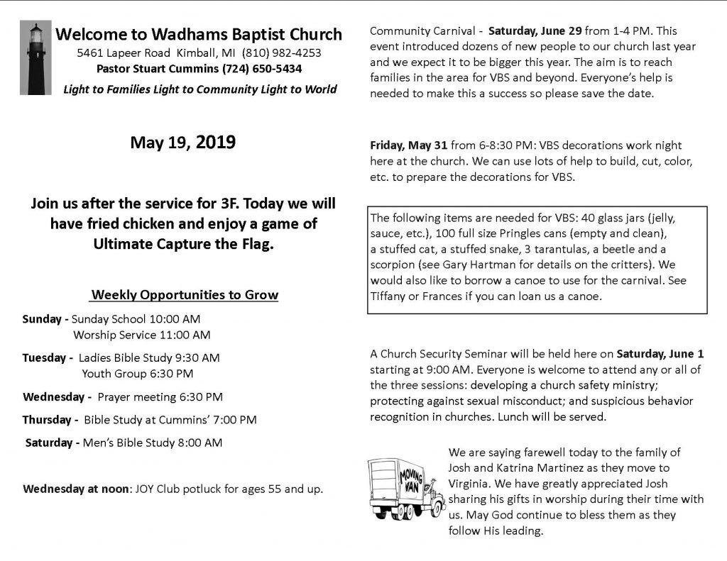 Bulletin May 19 | Wadhams Baptist Church