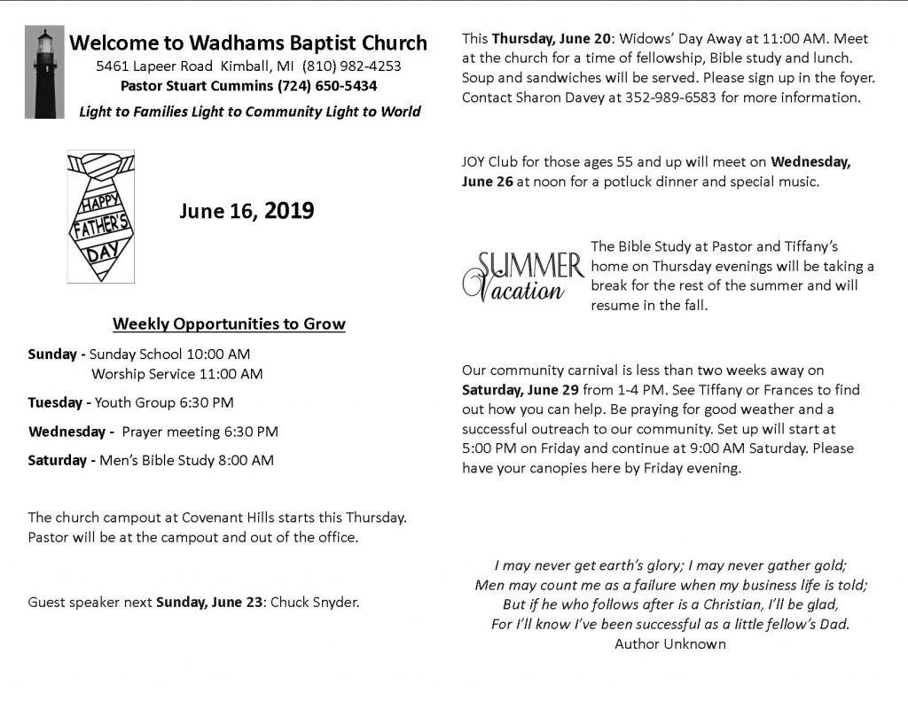 Bulletin June 16 - Wadhams Baptist Church
